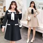 Long-sleeve Contrast Trim Loose-fit Dress