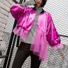 Asymmetrical Mesh Panel Zip Jacket
