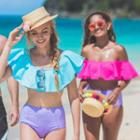 Plain Ruffle Trim Bikini