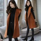 Hooded Buttoned Long Vest