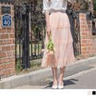 Lace Trim Layered Mesh Maxi Skirt
