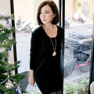 Round-neck Long Knit Top