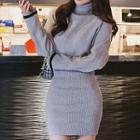 Knit Turtleneck Long-sleeve Mini Sheath Dress