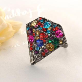 Colorful Rhinestone Ring  Black - One Size