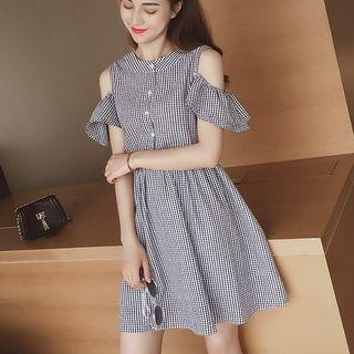 Gingham Cold Shoulder A-line Dress
