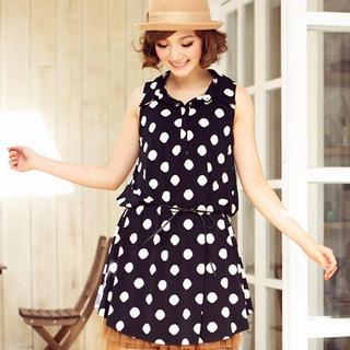 Sleeveless Polka-dot Shirtdress