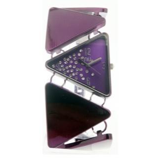 Triangle Banded Wrist Watch Purple - One Size