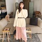 Crinkled Velvet Maxi Skirt