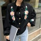 Flower Embroidered Loose-fit Bow Jacket