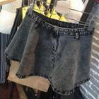 Washed A-line Denim Skirt