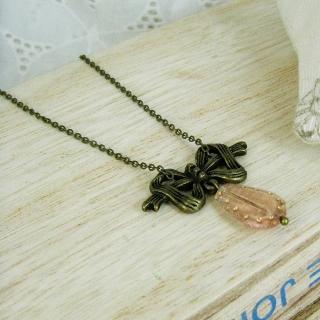 Vintage Ribbon Pink Necklace