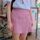 Button-front Gingham Mini Skirt