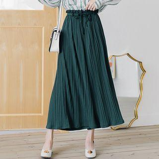 Drawstring Maxi Culottes Dark Green - One Size