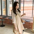 Sheer-panel A-line Chiffon Dress
