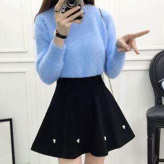 Fluffy Sweater / Mini A-line Skirt / Set