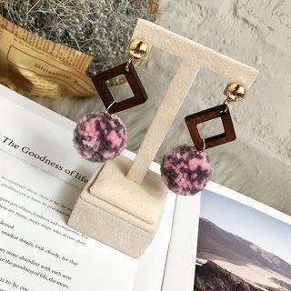 Wooden Square Pompom Dangle Earring