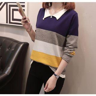 Long-sleeve Striped Knit Collared Top As Shown In Figure - One Size