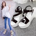 Lettering Platform Wedge Sandals