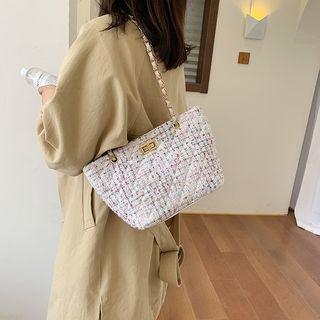 Tweed Chain Strap Tote Bag