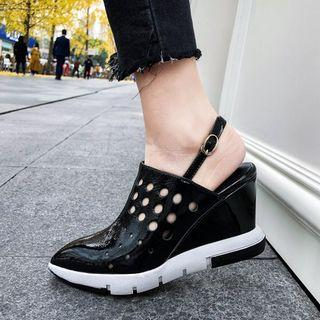 Genuine Leather Perforated Platform Shoes