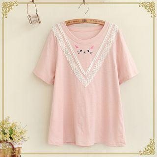 Cat Embroidered Short Sleeve T-shirt