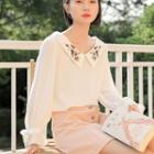 Embroidered Chiffon Blouse White - One Size