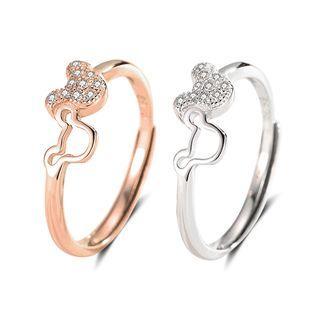 925 Sterling Silver Rhinestone Bear Open Ring