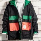 Color Block Hood Zip Jacket