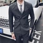 Set: Plaid Double Breasted Blazer + Vest + Dress Pants