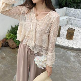 Bell-sleeve Lace Top Almond - One Size