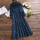 Leaf Print Corduroy Long-sleeve A-line Dress