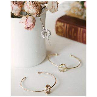 Rhinestone Ring Open Bangle