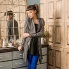 Asymmetric Long Jacket With Sash