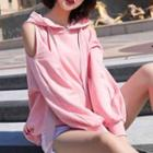 Cut-out Shoulder Hooded Pullover