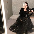 Set: Plain Long Sleeve Knit Top + Glittered Maxi Mesh Skirt
