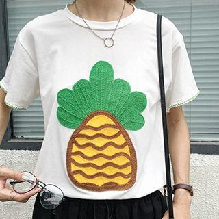 Pineapple Embroidered Short Sleeve T-shirt