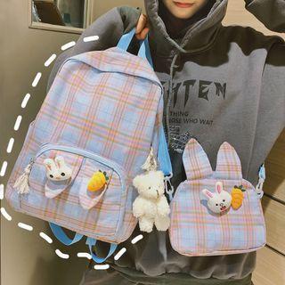 Set: Plaid Backpack + Crossbody Bag