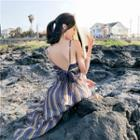 Striped Strappy Maxi Sun Dress