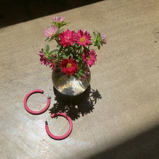 Metallic Hoop Earrings Pink - One Size