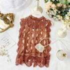 Lace Trim Sleeveless Top Brick Red - One Size