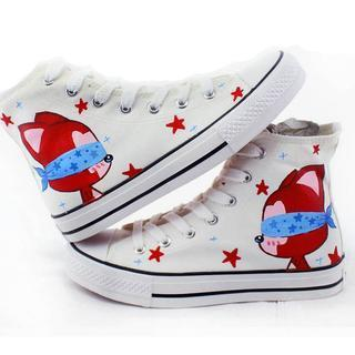 Painted Fox Lace-up Canvas Sneakers