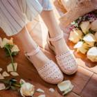 Perforated Ankle Strap Flats