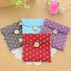 Dotted Linen Cotton Sanitary Pouch