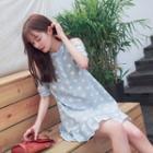 Floral Print Cold Shoulder Short-sleeve A-line Dress
