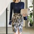 Set: Ruffled Long-sleeve Top + Printed Skirt