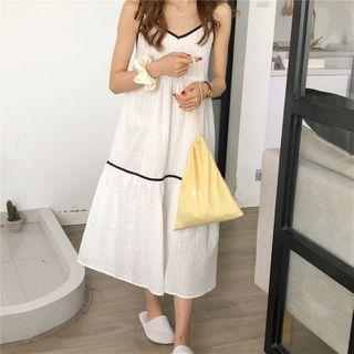 Color-block A-line Sleeveless Dress White - One Size