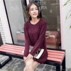 Long-sleeve Knit Long Top