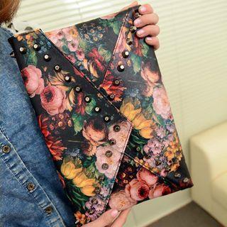 Faux Leather Floral Clutch