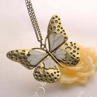 Oil Dripping Butterfly Necklace Copper - One Size