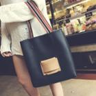 Striped Strap Tote With Pouch